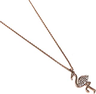 by The Pool Flamingo Rose Gold Plated Charm Pendant Necklace
