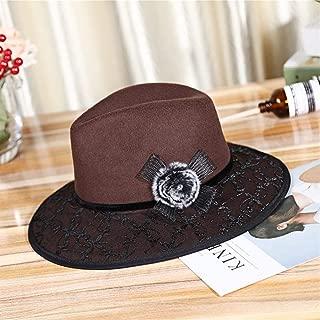 SHENLIJUAN Lace Woolen hat Factory Direct Batch Warm top hat (Color : Coffee, Size : M56-58cm)