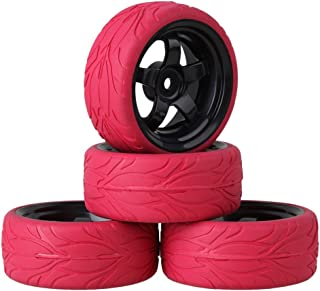 Mxfans Black 5 Spoke Plastic Wheel Rim+Red Fish Scale Pattern Rubber Tyre RC 1:10 On Road Car Pack of 4
