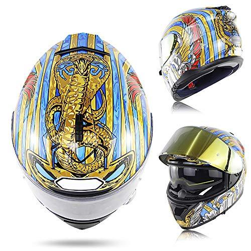 BBJZQ Erwachsene Motocross Helm Mit Doppelvisier,Python-Integralhelm motorradhelm Quad ATV Abenteuer Mountainbike Kleiner Helm Gute Belüftung Full Face Racing Motorradhelm,DOT/ECE