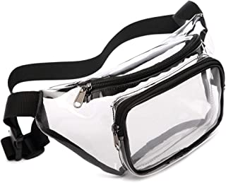 Fanny Pack, Veckle Clear Fanny Pack Waterproof Cute Waist Bag NFL Stadium Approved Clear Purse Transparent Adjustable Belt Bag for Women Men, Travel, Beach, BTS Concerts Events, Black