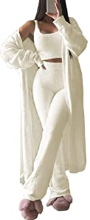Fixmatti Women's Fuzzy 3 Piece Sweatsuit Open Front Cardigan Crop Tank Tops Wide Legs Pants Lounge Sets