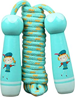 Aro Lora Kids Jump Rope Adjustable, Cotton Jump Rope for Kids with Wooden Handles, Childrens Skipping Ropes for Boys and G...