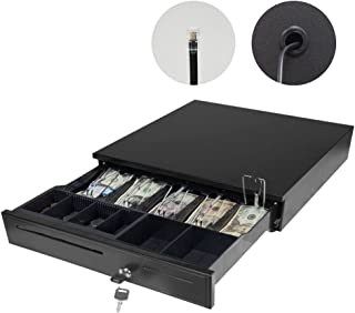 PARTYSAVING Point of Sales/Cash 12V Drawer Register Metal RJ-11 Key-Lock W/Bill & Movable Coin Trays APL1304, Black