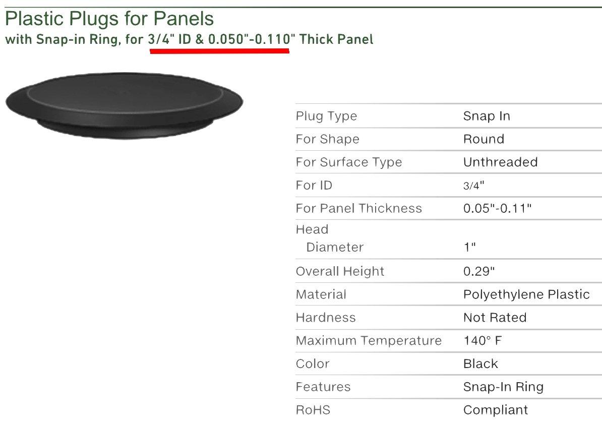 "3/4"" 0.75 inch Flush Mount Black Plastic Body and Sheet Metal Hole Plug Qty 25"