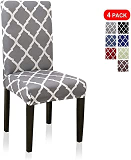 Stretch Dining Chair Covers, Geometric Print Dining Chair Slipcovers, Removable Washable Spandex Furniture Seat Protector for Kitchen Hotel Table Banquet (4 Per Set, Gray)