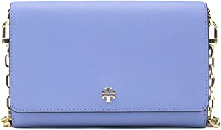 Tory Burch Leather Emerson Chain Wallet Light Blue