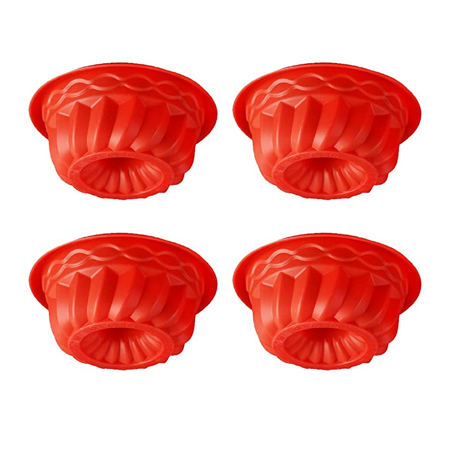 QELEG 4Pcs Mini Silicone Bundt Cake Pan,Oven Roasting Baking Mini Fluted Tube Cake Pan-5 Inch (Red)