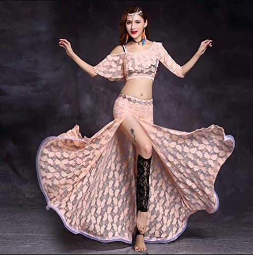 BT-GIRL Robe Danse Ventre Femme Danse Orientale Costume Classique Belly Dance Unique Danse Indienne 4 Couleurs,rose,L