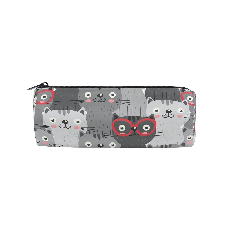 AOMOKI ペンケース ペンポーチ 筒型 化粧ポーチ 多機能バッグ 男女兼用 猫 眼鏡