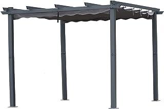 Angel Living [Actualizado] Pérgola de Aluminio con Techo Retráctil, Pabellón con Diseño Elegante, Cenador con Tela de Poliéster Resistente al Agua y a UV, Uso para el Exterior (3 x 3, Gris)