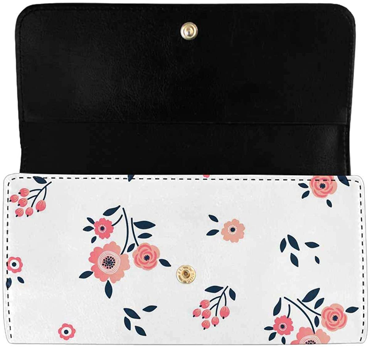 INTERESTPRINT Women's Trifold Long Clutch Wallets Corals and Algae PU Leather Clutch Bag