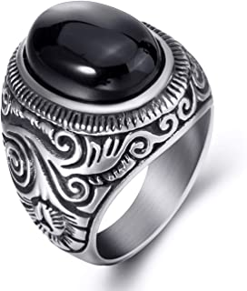 Men Stainless Steel Rings Natural Oval Black Onyx Gem Ring Vintage Jewelry Size 8-15