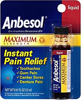 Anbesol Maximum Strength Instant Pain Relief Liquid 0.41 oz by Anbesol