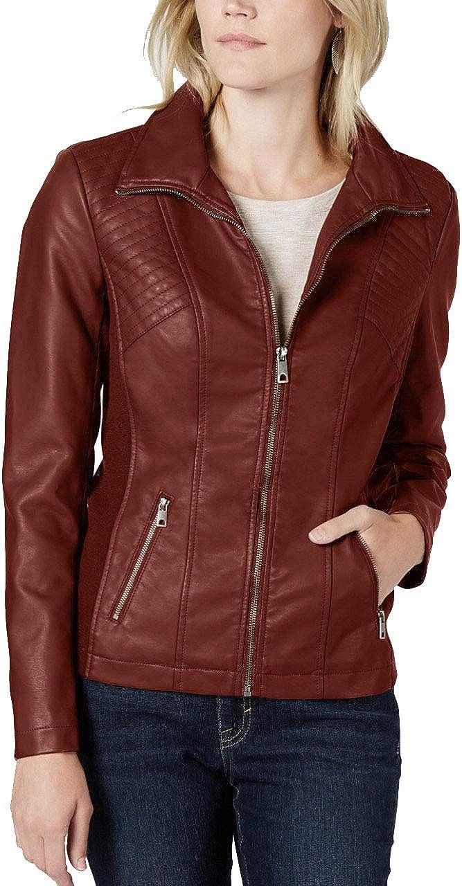 Style & Co. Women's Petite Faux-Leather Moto Zipper Jacket - (Maroon Oxblood, PMedium)