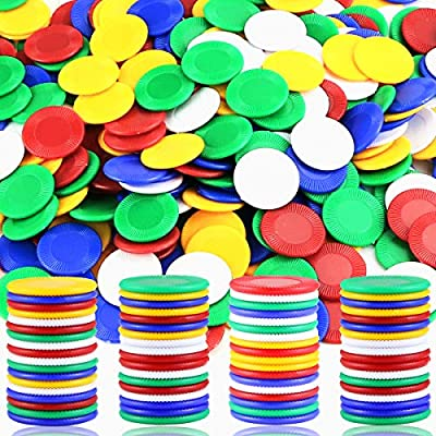 Wpxmer 300 Plastic Poker Chips, Poker Card Game Chips Bulk for Game Play, Learning Math Counting, 5 Colors