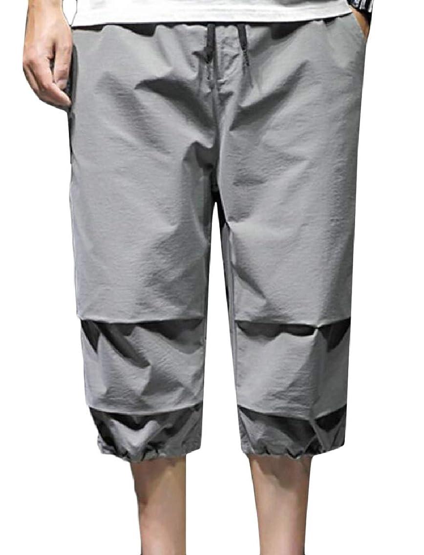 CBTLVSN Men Shorts Elastic Waist Linen Loose Capris Joggers Harem Pants