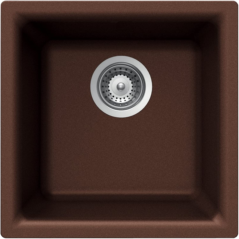 Houzer E-100 EARTH Quartztone Series Granite Dual Mount Bar Prep Sink, Brown