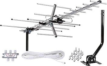 $59 » [Newest 2020] Five Star Yagi Satellite HD TV Antenna up to 200 Mile Range, Attic or Roof Mount TV Antenna, Long Range Digital OTA Antenna for 4K 1080P Supports 4 TVs Installation Kit & Mounting Pole