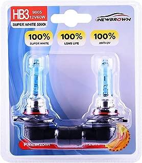 9005 HB3 Halogen Headlight Bulb with Super White Light P20D 12V/60W 5000K, 2 Pack,Long Life