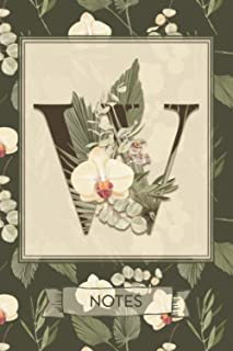 W Notes: Tropical Boho Style Floral Notebook Monogram Initial W Blank Lined Journal   Orchids and Palms   Decorated Interior