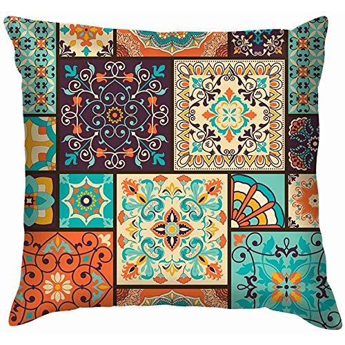 Butlerame Colorido Mosaico Mosaico árabe Floral Cojines