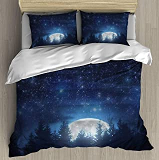 Soft Printed Bedding Set Full Moon rising from the horizon with tree silhouettes and stars My Duvet Cover Pillow Case Patt...