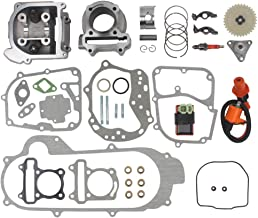 Wingsmoto 100cc Big Bore Kit for 64mm Valve GY6 49CC 50CC 139QMB Moped Scooter Engine 50mm Bore Upgrade Set with Racing CDI Ignition Coil Performance Spark Plug (64mm Valve Length)