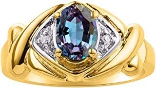RYLOS XOXO hugs & Kisses Design Ring Oval Gemstone & Genuine Sparkling Diamonds in 14K Yellow Gold Plated Silver .925-7X5M...