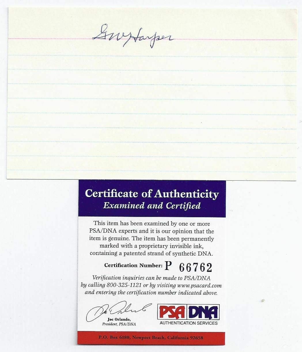 George Harper Signed Super beauty product restock quality top Index Card - Signatures MLB PSA Cut Limited time trial price DNA