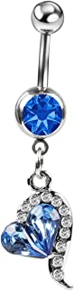 CrazyPiercing Navel Barbell Rhinestones Owl/Heart Dangle Belly Button Ring Fashion Body Piercing Jewelry