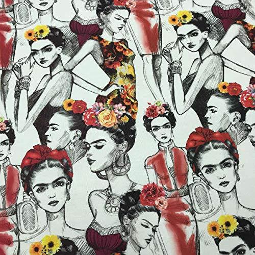 Kt KILOtela Tela de loneta Estampada Digital - Half Panamá 100% algodón - Retal de 100 cm Largo x 140 cm Ancho | Frida Kahlo, boceto - Rojo, Negro, Beige ─ 1 Metro