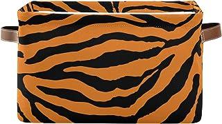 ALarge Panier de rangement abstrait Motif tigre géométrique abstrait Panier à linge pliable Organiseur de jouets Cube Sac ...