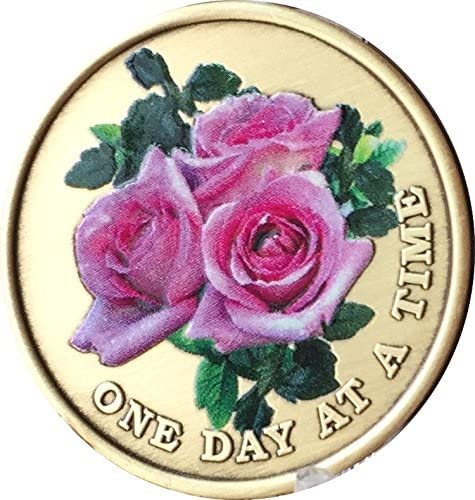 Pink Rose Seattle Mall One Day at A Time sale Color Serenity Time Medallion Prayer Chip