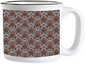 Evil Eye Imitated Enamel Ceramic Cup,Hand of Fatima Pattern Hamsa Motifs Bohemian Style Spiritual Tribal for Office,3.9