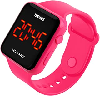 Kids or Adults Fruit Powder led Electronic Sports Watches, Large Screen pu Strap Waterproof Men and Women Students Couple Wristwatch-D
