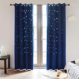 BUZIO A Pair Twinkle Star Kids Room Curtains with 2...