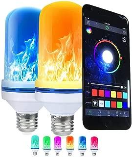 E26 LED Flame Effect Fire Light Bulbs, APP Control Flickering Emulation Simulation Fire Burning Effect Decorative Lamp for Halloween Xmas Festival AC90-265V