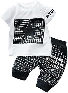 2PC//Conjunto Bebe Ni/ño Ropa Bebe Recien Nacido Ni/ños Manga Corta Camiseta Barba Estampado T-Shirt Tops y Pantalones Conjunto de Ropa 0-24 Mes K-youth Ropa Bebe Ni/ños Verano