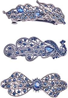 Messen 3 Pack Crystal Rhinestones Barrettes French Hair Clip Navy Clip Design Hair Clips Barrette Bridal Wedding Formal Event Jewelry Accessory for Women Girls (Phoenix/Butterfly/Leaves)