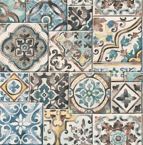 BHF FD22315 Reclaimed Marrakesh Tiles Wallpaper - Teal by BHF