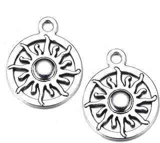 50pcs Charms sun Antique Making pendant fit,Vintage Tibetan Silver,DIY bracelet necklace 15x20mm (50pcs)
