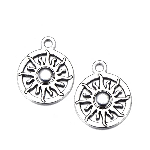 10 x Tibetan Silver Tone Sun Connector Charms for Bracelet Jewellery Making