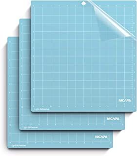 Nicapa Cutting Mat for Silhouette Cameo 3/2/1 (Light-Grip,12x12 inch 3pack) Adhesive&Sticky Non-Slip Flexible Square Gridded Blue Cut Mats Replacement Accessories Set Matts Vinyl Craft Sewing