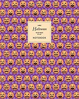 Halloween Notebook - Ruled Pages - 8x10 - Large: (Purple Edition) Fun Halloween Jack o Lantern notebook 192 ruled/lined pa...