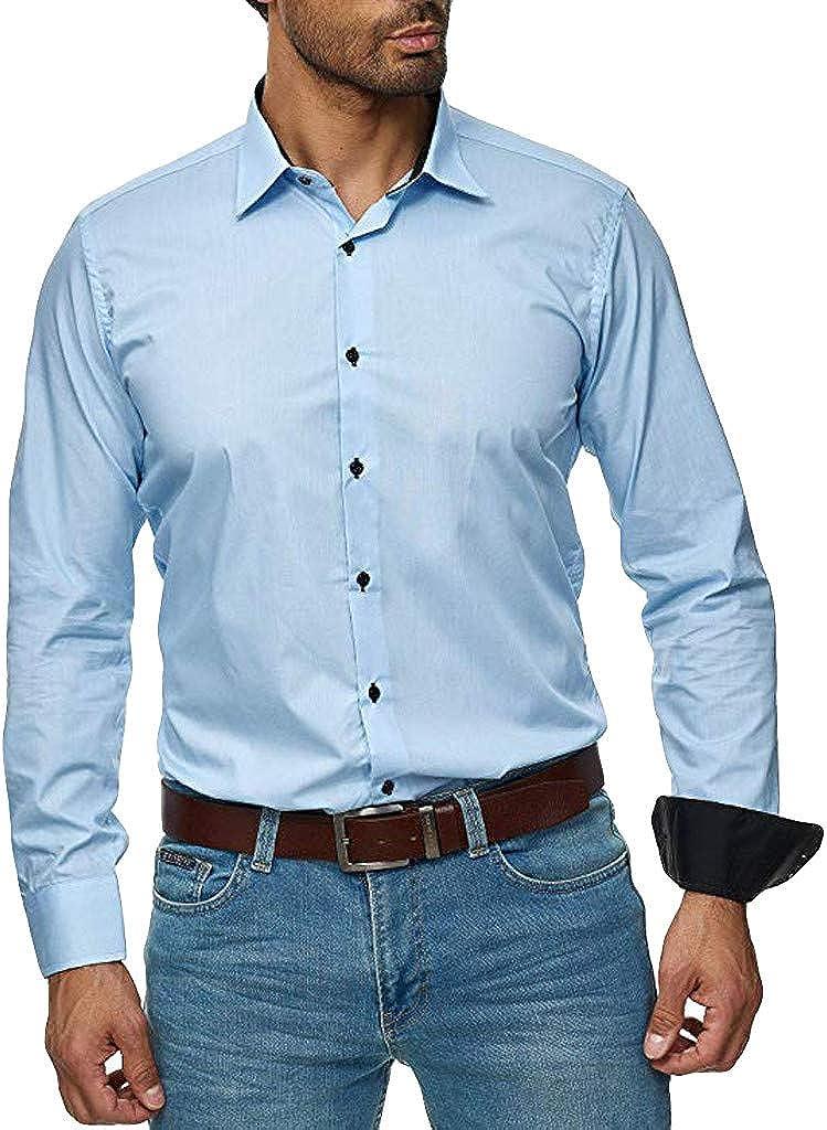 MODOQO Men's Shirt Slim Fit Solid Button Down Business Dress Shirt