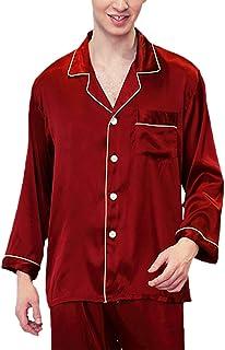 Men's Sleepwear Fashion Soft Silk Pajamas Pajama Pants Spring Comfortable Sizes Autumn Long Sleeve Lapel Loose Breathable ...