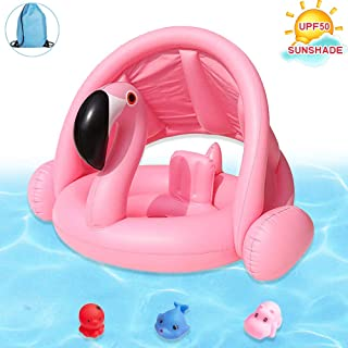 Brave Hours Flamingo Baby Inflatable Toddler Pool Float Swimming Ring with Sun Canopy for The Age 6-48 Months with Bath Toys & Gift Storage Bag?