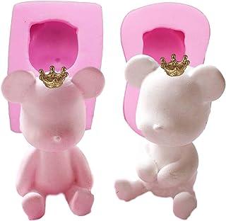 【Ever garden】 熊 2個セット クマ 王冠2個付き シンプル シリコンモールド レジン アロマストーン 手作り 石鹸 キャンドル 樹脂 粘土 オルゴナイト 型 抜き型