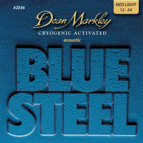 Dean Markley Blue Steel Cryogenic Activated Acoustic Strings, 12-54, 2036, Medium Light
